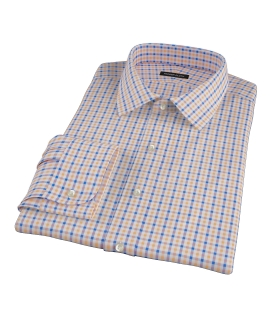 Orange and Blue Gingham Tailor Made Shirt