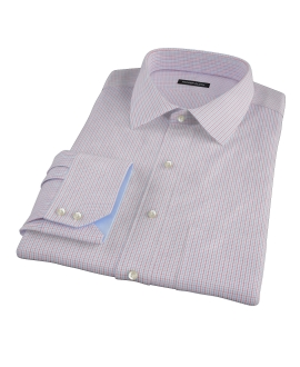 Blue Red Peached Tattersall Dress Shirt