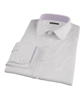 140s Lavender Wrinkle Resistant Grid Custom Made Shirt