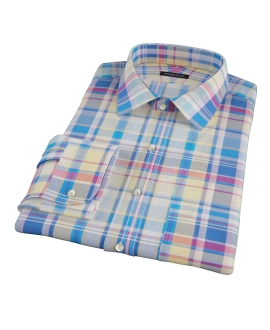 Yellow Blue Red Madras Custom Dress Shirt