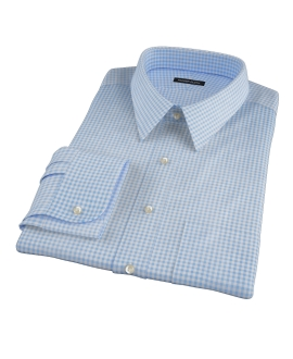 Blue Cotton Linen Gingham Custom Dress Shirt