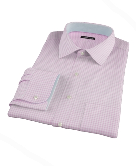Pink Cotton Linen Gingham Dress Shirt