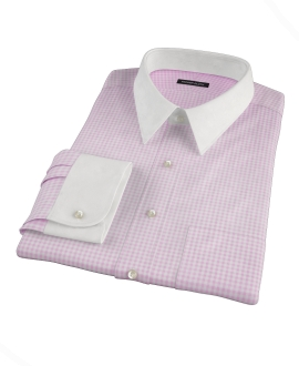 Pink Cotton Linen Gingham Men's Dress Shirt