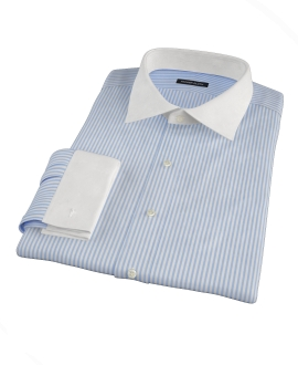 140s Wrinkle Resistant Blue Bengal Stripe Dress Shirt