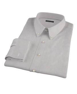 Clove Brown End-on-End Stripe Fitted Shirt