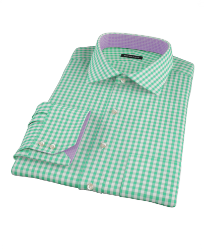 Light Green Gingham Custom Dress Shirt