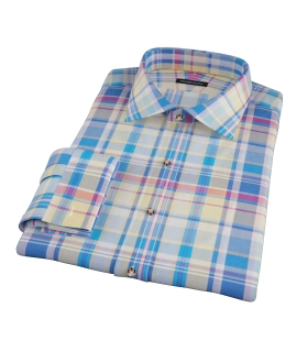 Yellow Blue Red Madras Custom Made Shirt
