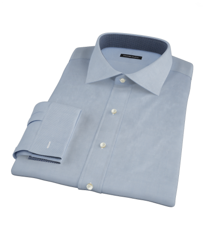 Japanese Blue Cavalry Twill Custom Dress Shirt