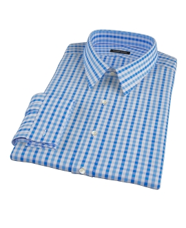 Thomas Mason Blue Multi Gingham Fitted Dress Shirt
