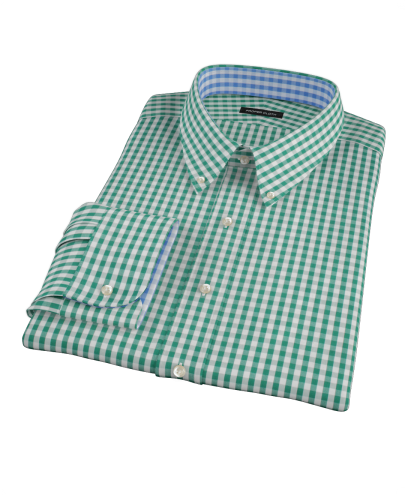 Veridian Green Gingham Fitted Dress Shirt