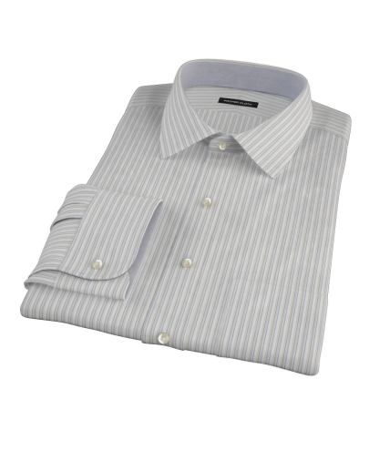 Japanese Light Blue and Gray Stripe Custom Dress Shirt