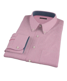 Canclini Red Mini Gingham Custom Dress Shirt