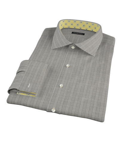 Black Glen Plaid Men's Dress Shirt