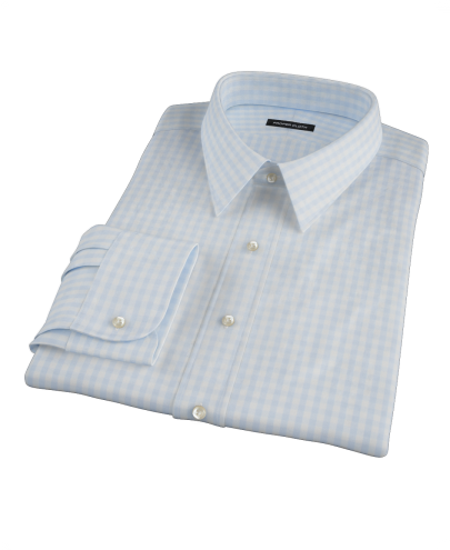 Pale Blue Gingham Fitted Dress Shirt