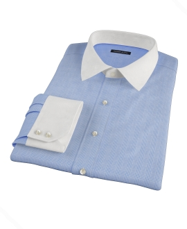 Light Blue Glen Plaid Custom Made Shirt