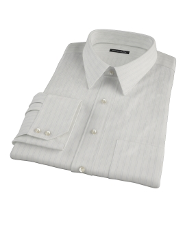 Light Blue Satin Stripe Fitted Dress Shirt