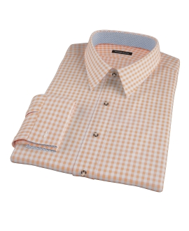Medium Light Orange Gingham Dress Shirt