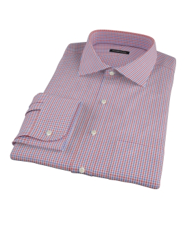 Canclini 120s Red Multi Gingham Fitted Shirt