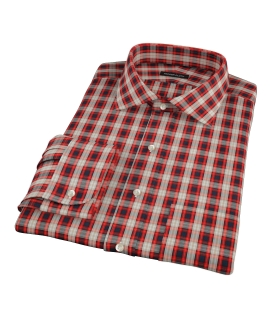 Mandarin Orange Plaid Fitted Dress Shirt