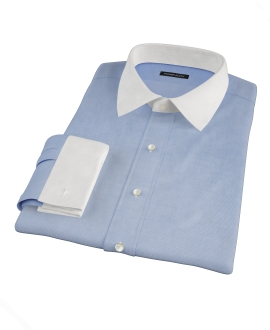 Thomas Mason Blue Mini Houndstooth Fitted Shirt