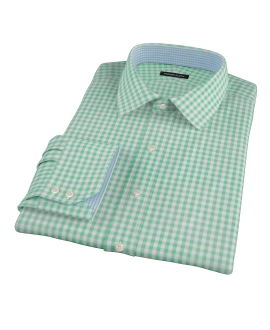 Medium Light Green Gingham Custom Dress Shirt