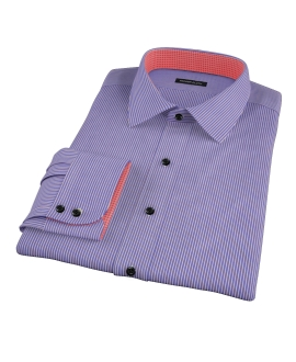 Canclini Blue and Red Stripe Fitted Shirt