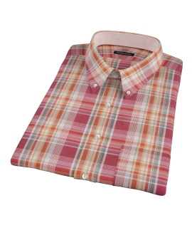 Canclini 120s Red Yellow Madras Short Sleeve Shirt