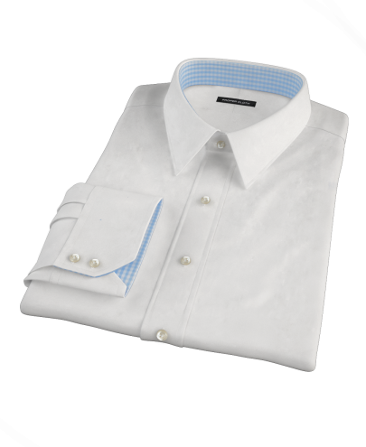White 100s Broadcloth Fitted Dress Shirt