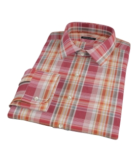 Canclini 120s Red Yellow Madras Dress Shirt