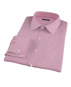Canclini Red Mini Gingham Custom Dress Shirt