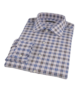 Vincent White Navy Red Plaid Dress Shirt