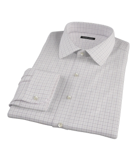 Canclini Brown Tan Grid Oxford Men's Dress Shirt