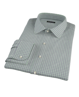 Canclini Green and Blue Mini Gingham Men's Dress Shirt