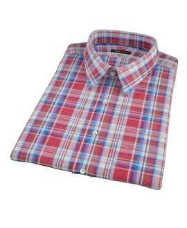 Canclini Red White Blue Plaid Short Sleeve Shirt