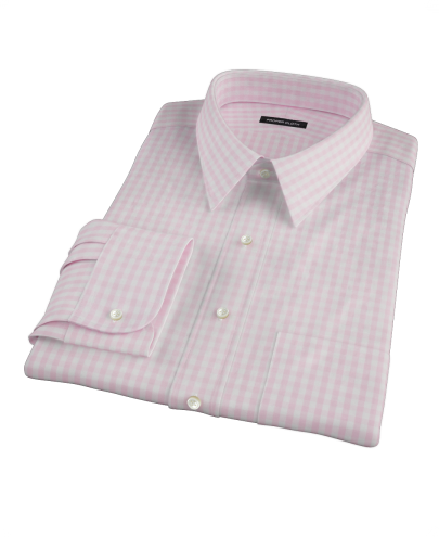 Pale Pink Gingham Custom Dress Shirt