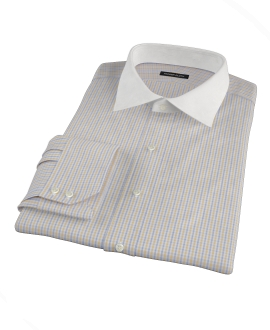 Yellow Davis Check Men's Dress Shirt