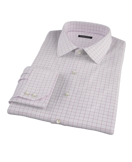 Canclini Red Pink Grid Oxford Men's Dress Shirt