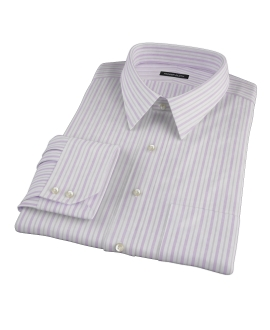 Canclini 120s Lavender Brown Stripe Fitted Dress Shirt