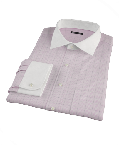 Pink Black Window Grid Fitted Dress Shirt
