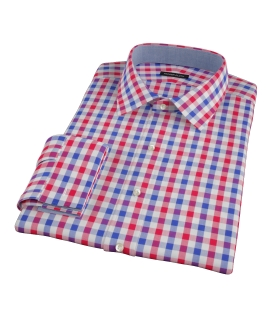 Red and Blue Large Gingham Men's Dress Shirt
