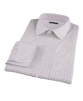 Canclini Red Pink Grid Oxford Fitted Shirt