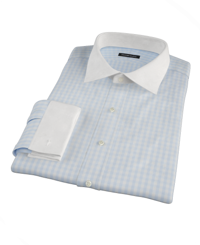 Pale Blue Gingham Custom Dress Shirt
