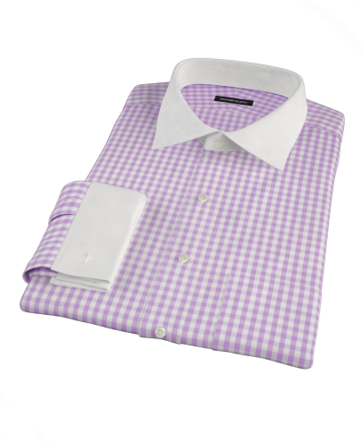 Light Purple Gingham Fitted Dress Shirt