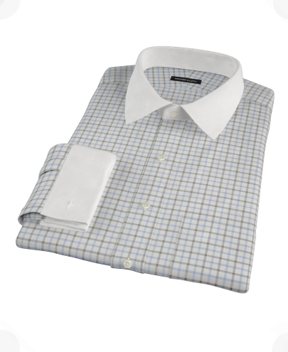 Light Blue Black Windowpane Fitted Dress Shirt 