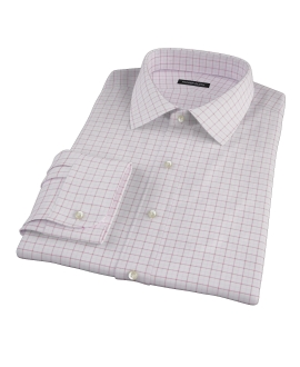 Canclini Red Pink Grid Oxford Dress Shirt