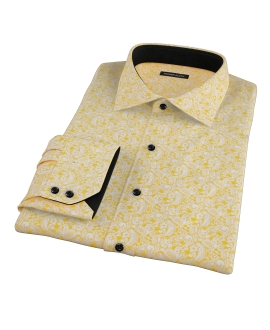 Canclini Orange Yellow Paisley Print Custom Made Shirt