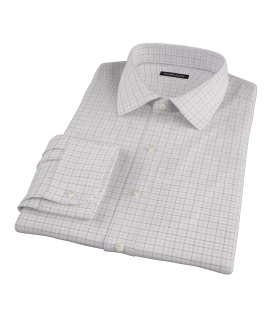 Canclini Brown Tan Grid Oxford Custom Dress Shirt