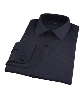 Thomas Mason Black Luxury Broadcloth Fitted Shirt