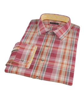 Canclini 120s Red Yellow Madras Fitted Shirt