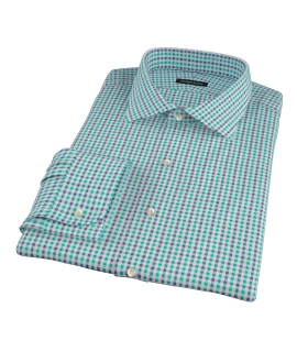Green and Navy Gingham Men's Dress Shirt